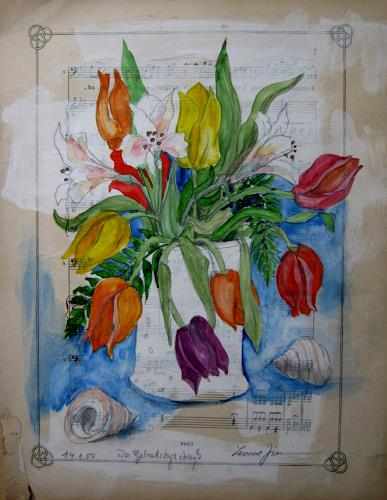 Leonore Zimmermann, der Geburtstagsgruß, Pflanzen: Blumen, Moderne