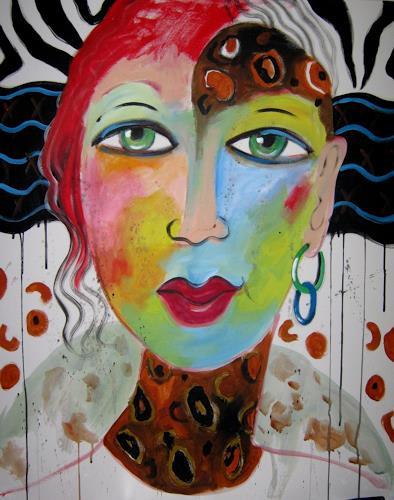 Leonore Zimmermann, Lady Africa, Menschen: Gesichter, Action Painting