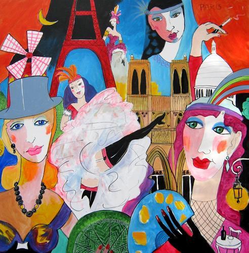 Leonore Zimmermann, Paris, Fantasie, Dekoratives, Pop-Art, Expressionismus
