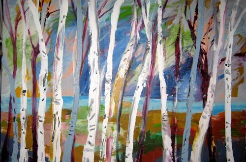 Leonore Zimmermann, Birkenwald, Landschaft, Natur, Abstrakter Expressionismus