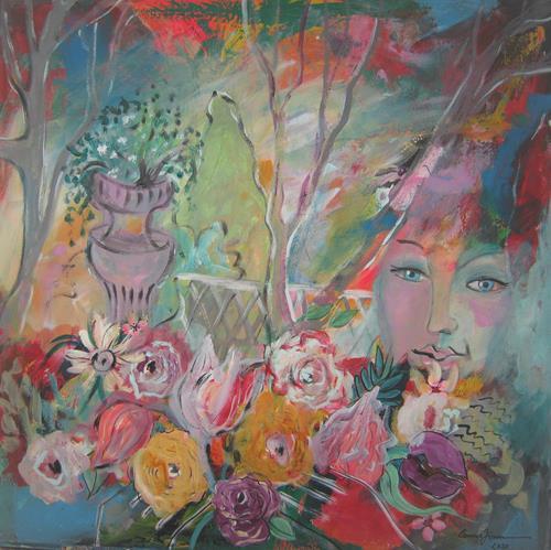 Leonore Zimmermann, mein kleines Gartenparadies, Landschaft: Sommer, Menschen: Gesichter, Moderne, Expressionismus