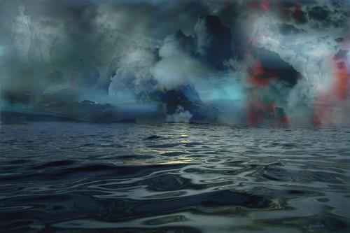 karl dieter schaller, lonesome swimmers weird perspective.v1, Diverses, Gegenwartskunst, Abstrakter Expressionismus