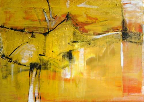 Bibi J, landscape, yellow, Abstraktes, Gegenwartskunst
