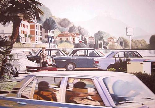 Thomas Kobusch, Lungolago, Bewegung, Landschaft: Sommer, Fotorealismus