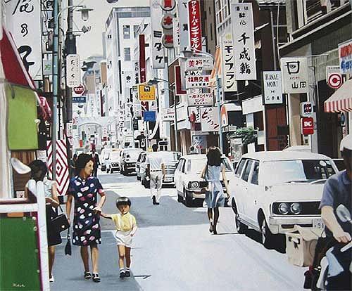 Thomas Kobusch, Ginza walk, Verkehr: Auto, Situationen, Fotorealismus, Expressionismus
