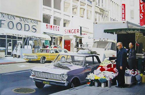 Thomas Kobusch, Valentine's day, Verkehr: Auto, Diverse Bauten, Fotorealismus, Expressionismus