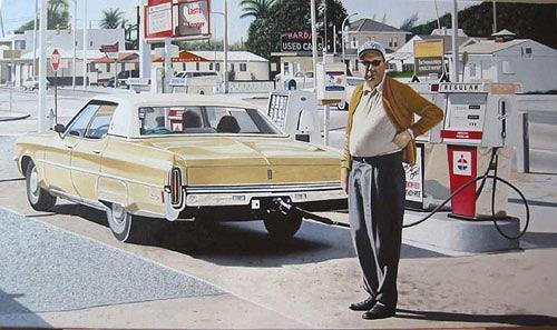 Thomas Kobusch, Fuel stop, Menschen: Mann, Verkehr: Auto, Fotorealismus, Expressionismus