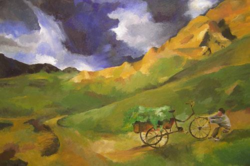 Nicole Mühlethaler, O/T, Landschaft: Berge, Diverse Landschaften, Expressionismus