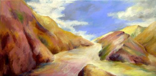 Nicole Mühlethaler, purple ocher hills, Landschaft: Hügel, Natur: Diverse