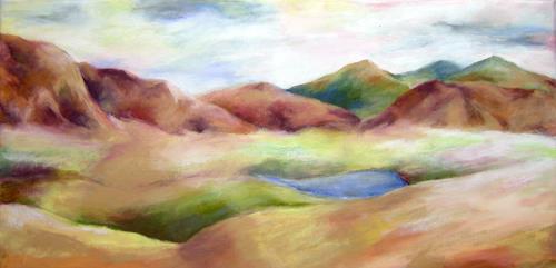 Nicole Mühlethaler, blue lake, Landschaft: Hügel, Natur: Diverse