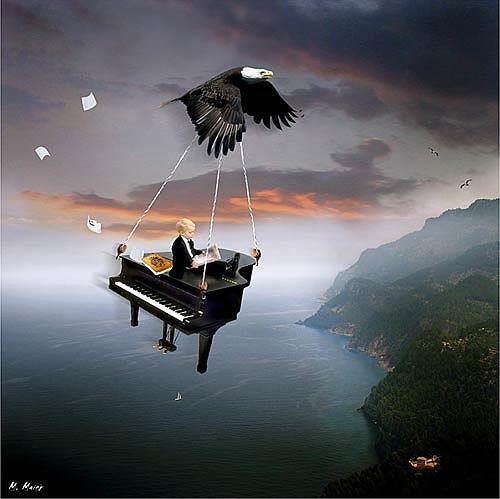 YAPIZO - Michael Maier, The little pianist, Fantasie, Diverse Gefühle, Postsurrealismus, Abstrakter Expressionismus