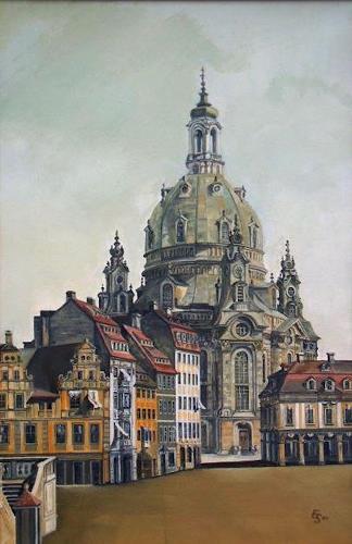 erhard sünder, Frauenkirche Dresden, nach Canaletto, Bauten: Kirchen, Realismus, Expressionismus