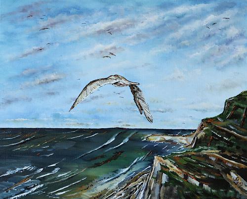 Ulf Göbel, Odyssee, Landschaft: See/Meer, Tiere: Luft, Gegenwartskunst