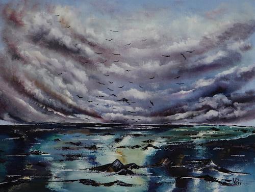 Ulf Göbel, Nach Süden, Landschaft: See/Meer, Natur: Wasser, Gegenwartskunst, Abstrakter Expressionismus