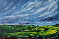 Ulf-Goebel-Landschaft-Fruehling-Landschaft-Huegel-Moderne-Impressionismus-Neo-Impressionismus