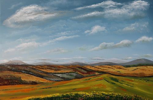 Ulf Göbel, Wegesrand, Landschaft: Hügel, Diverse Landschaften, Gegenwartskunst, Expressionismus