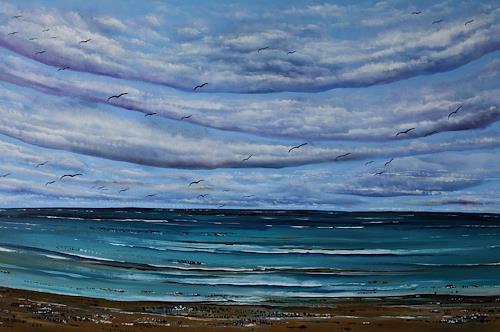 Ulf Göbel, Nach Süden XVIII, Landschaft: See/Meer, Natur: Wasser, Neo-Impressionismus, Expressionismus