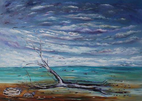 Ulf Göbel, Losgelassen II, Landschaft: See/Meer, Natur: Diverse, Neo-Impressionismus