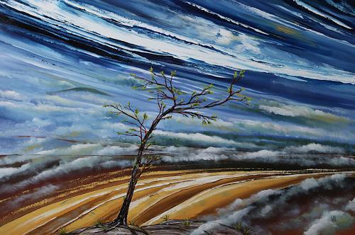 Ulf Göbel, Erwachen, Landschaft: Berge, Natur: Diverse, Neo-Impressionismus, Abstrakter Expressionismus