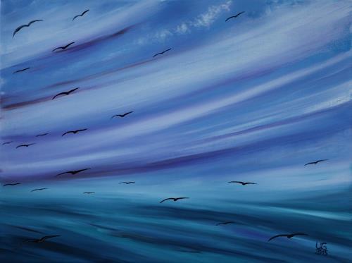 Ulf Göbel, Sehnsucht XII, Landschaft: See/Meer, Natur, Gegenwartskunst, Expressionismus