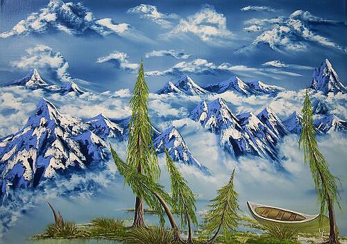 Ulf Göbel, Blueberry Lake, Landschaft: Berge, Natur: Wasser, Gegenwartskunst