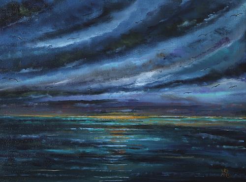 Ulf Göbel, Dämmerung, Landschaft: See/Meer, Natur: Diverse, Gegenwartskunst, Abstrakter Expressionismus