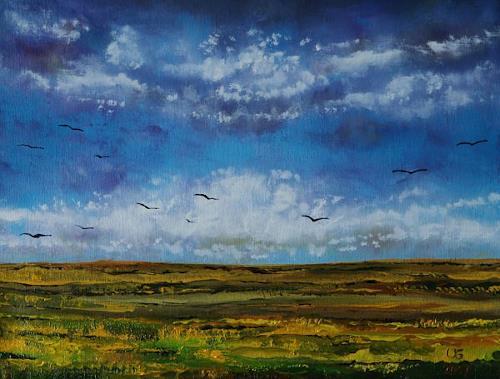 Ulf Göbel, Rückzug, Landschaft: Hügel, Diverse Landschaften, Gegenwartskunst, Expressionismus