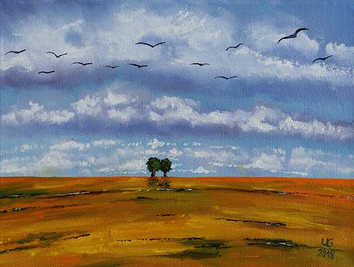 Ulf Göbel, Rückzug III, Landschaft: Frühling, Landschaft: Hügel, Gegenwartskunst