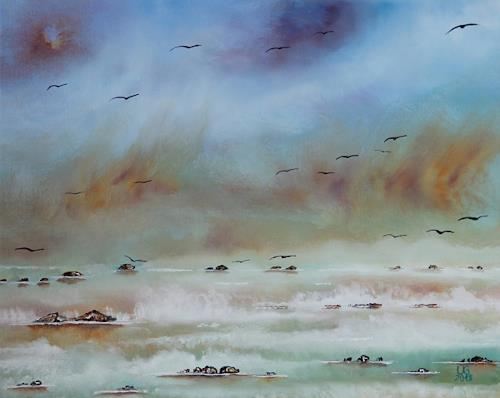 Ulf Göbel, Stilles Erwachen II, Natur: Luft, Landschaft: See/Meer, Gegenwartskunst, Expressionismus
