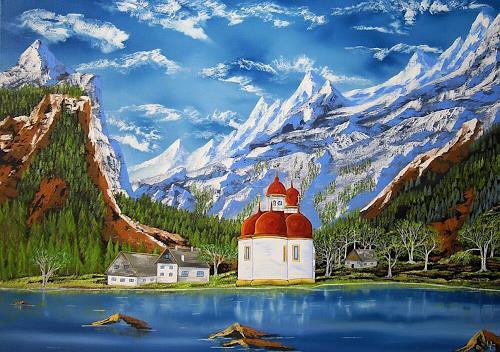 Ulf Göbel, Idylle, Landschaft: Berge, Bauten: Kirchen, Realismus