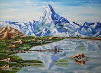 Ulf-Goebel-Landschaft-Berge-Landschaft-See-Meer-Gegenwartskunst--Gegenwartskunst-