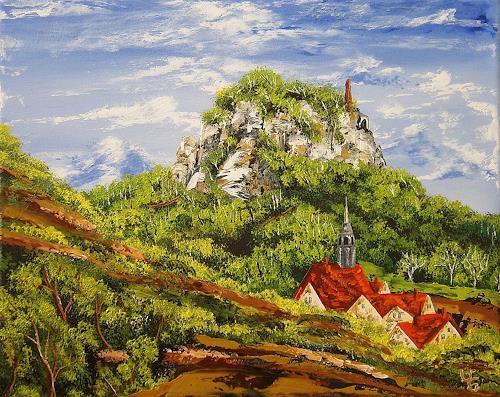 Ulf Göbel, Abwärts, Landschaft: Berge, Pflanzen: Bäume, Gegenwartskunst