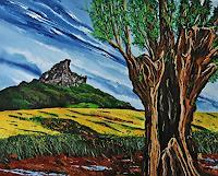 Ulf-Goebel-Landschaft-Berge-Pflanzen-Baeume-Gegenwartskunst--Gegenwartskunst-