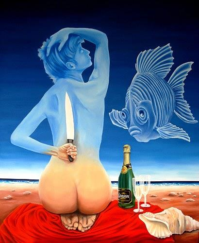 Joerg Peter Hamann, ...on the knife´s edge, Akt/Erotik: Akt Frau, Landschaft: See/Meer, Postsurrealismus
