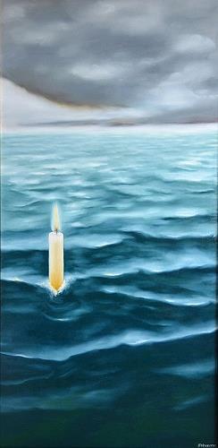 Joerg Peter Hamann, Kerze im Meer, Landschaft: See/Meer, Landschaft: See/Meer, Postsurrealismus