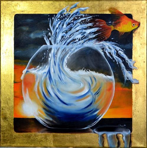 Joerg Peter Hamann, Up Up and Away, Tiere: Wasser, Natur: Wasser, Naturalismus, Abstrakter Expressionismus