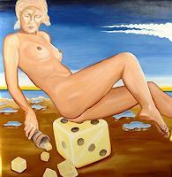 Joerg-Peter-Hamann-Akt-Erotik-Akt-Frau-Landschaft-See-Meer-Gegenwartskunst--Postsurrealismus