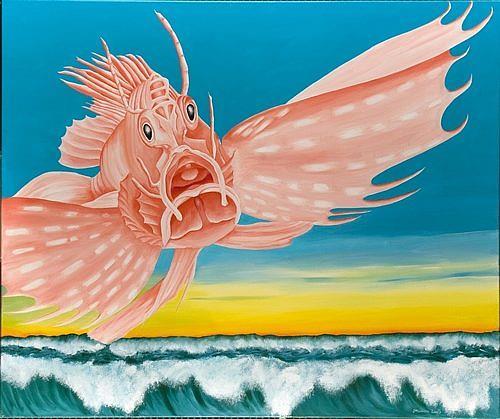 Joerg Peter Hamann, Die Rückkehr der Rotfeuerfische, Landschaft: See/Meer, Natur: Wasser, Postsurrealismus, Expressionismus