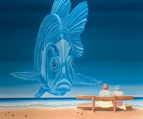 Joerg Peter Hamann, Blue Dandy, Landschaft: See/Meer, Natur: Wasser, Gegenwartskunst, Expressionismus