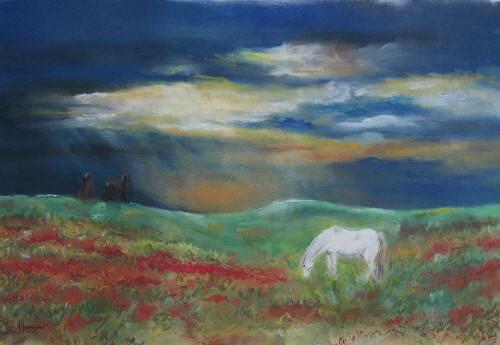 Sabina Haas, White horse in a meadow, Tiere: Land, Landschaft: Ebene, Gegenwartskunst