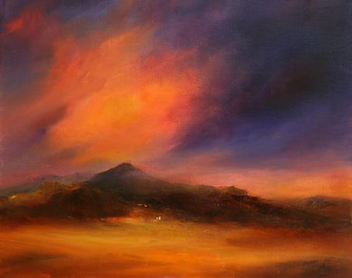 Petra Ackermann, Nightfall, Landschaft: Berge, Landschaft: Ebene, Gegenwartskunst, Expressionismus
