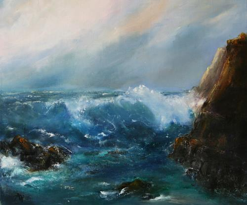 Petra Ackermann, Strong Surf, Landschaft: See/Meer, Natur: Wasser, Gegenwartskunst, Expressionismus