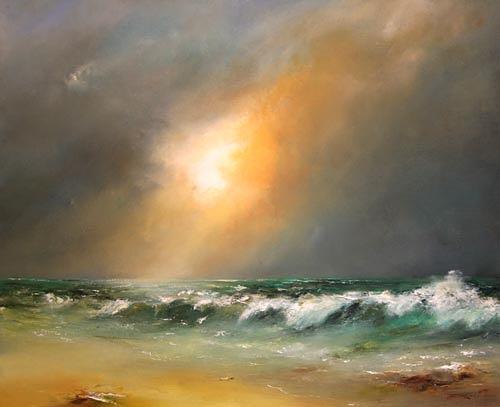 Petra Ackermann, Gathering Hurricane II, Landschaft: See/Meer, Natur: Wasser, Abstrakte Kunst, Expressionismus