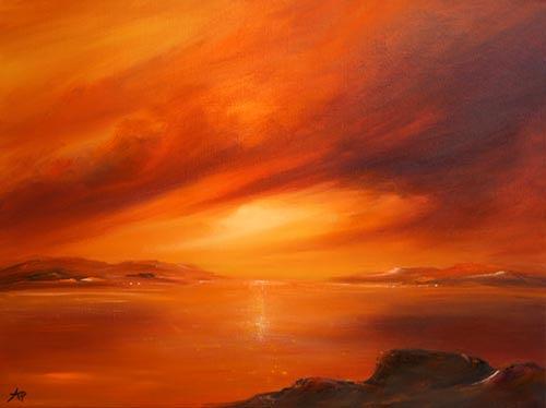 Petra Ackermann, Evening Glow, Landschaft: See/Meer, Natur: Wasser, Gegenwartskunst, Expressionismus