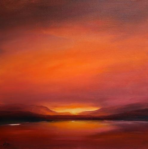 Petra Ackermann, Nightfall at Lake Abiquiu, Landschaft: See/Meer, Landschaft: Berge, Gegenwartskunst, Expressionismus