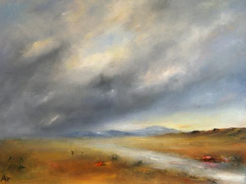 Petra Ackermann, A Rainy Day, Landschaft: Ebene, Landschaft: Berge, Gegenwartskunst, Expressionismus