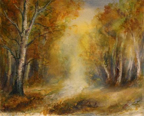 Petra Ackermann, Herbst, Landschaft: Herbst, Natur: Wald, Gegenwartskunst, Expressionismus