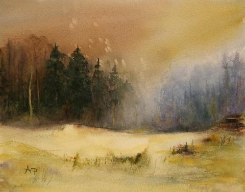 Petra Ackermann, Vor dem Frost, Landschaft: Winter, Natur: Wald, Gegenwartskunst, Expressionismus