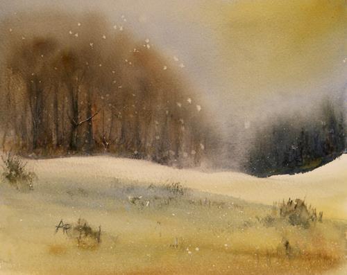 Petra Ackermann, A Wintry Day, Landschaft: Winter, Natur: Wald, Gegenwartskunst