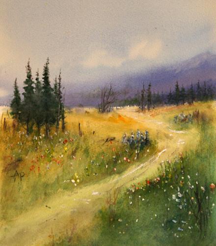 Petra Ackermann, On The Trail Of Beauty - Wildflowers in BC, Landschaft: Frühling, Landschaft: Berge, Gegenwartskunst, Expressionismus